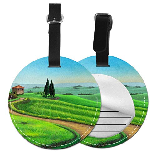 NameTagforLuggageTravellingBag Country Landscape Tuscany Italy Sunset Digital TravelIdTagsCute TravelTagforBag with Adjustable Black Strap for Bags & Baggage with Privacy Protection for Wo