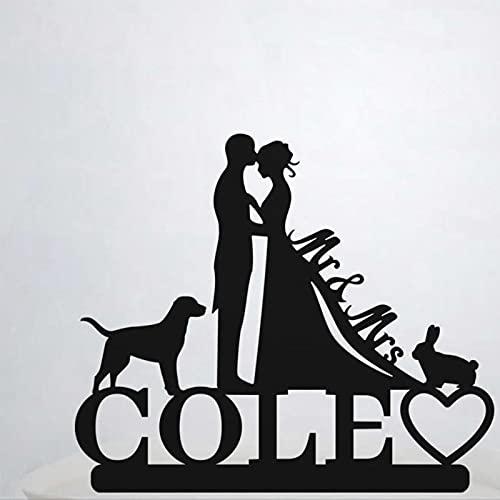 Decoración para tarta con apellido para tarta de boda con conejo y perro, novio y novia, decoración personalizada para tartas Hb208