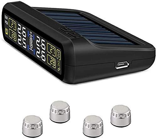 ZOUSHUAIDEDIAN Sistema de monitoreo de presión de los neumáticos: Carga Solar, con 4 sensores de TMPs externos, operación Simple y fácil instalación, Negro