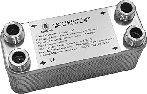 """Edelstahl Wärmetauscher Plattenwärmetauscher NORDIC Ba-12-30, 65kW, 30 platten, 3/4"""""""