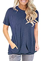 Material: 35%cotton+60%polyester+5%spandex,Super Soft,Stretchy and Comfy.Reduce Body Bearing,Shows Good Figure. Designs:Solid Color,Batwing Short Sleeve,Baggy Loose Fitting,Round Neck,Long Sleeves,Side Pockets,Casual Chic Style. Great for leggings,su...