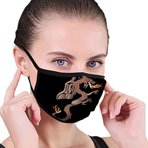 Atmungsaktive Premium Gesichtsschutzhülle,Geflügelter Drache Zeichnung Frauen Männer Anti Wind Staubschutz Schutzhülle Für Skiradfahren Camping Reisesicherheit, Täglicher Gebrauch