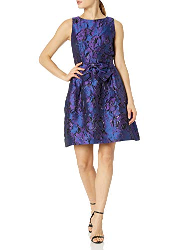 Tahari ASL Women's Bow Waist Tea Length Dress Cocktail, Purple Royal Floral, 6