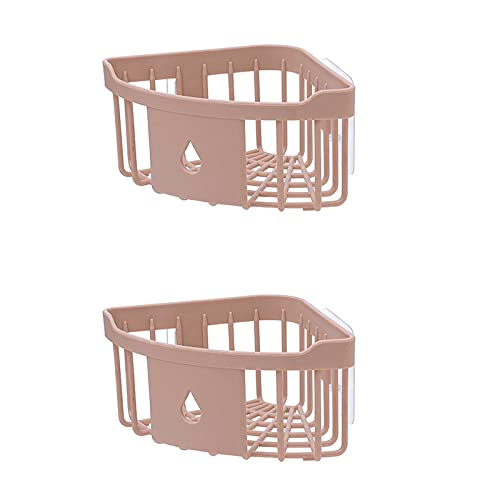Parshall 2 unidades organizador de ducha, estantes de baño, organizador de ducha con adhesivo adhesivo para accesorios de cocina y baño, rosa-A