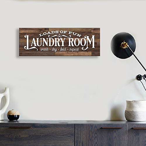 Kas Home Vintage Laundry Room Canvas Wall Art | Rustic Laundry Rules Prints Signs Framed | Bathroom Laundry Room Decor (17 x 6 inch, Laundry - C)