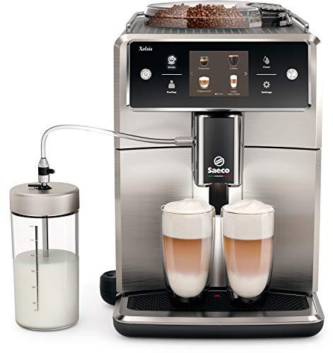Saeco Xelsis sm7685/00–Cafetera automática (pantalla táctil de Innovador, acero inoxidable) Plata/Negro