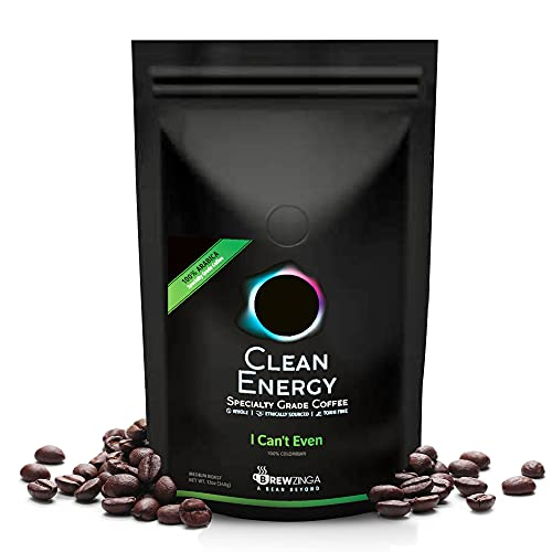 Brewzinga Clean Energy Whole Bean Colombian Coffee Medium Roast - 12 Oz - Toxin, Mold Free, and Fair Trade | Top 3% of Coffee in The World (I Can't Even)