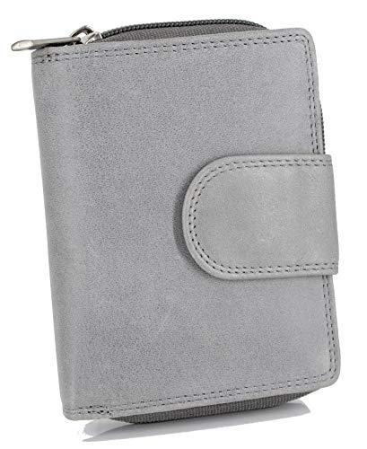 STEFANO große Damen Lederbörse aus weichem Leder Geldbörse Geldbeutel Portemonnaie Brieftasche Organizer Verschiedene Modelle (M1 grau)