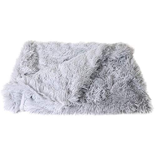 OCSOSO Manta para mascotas mullida, suave y cálida, alfombrilla de dormir para perros y gatos colocada en la cama del coche, uso multiusos – gris (L)