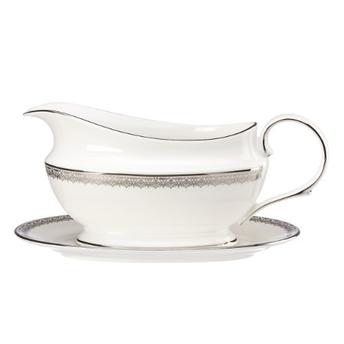 Lenox Lace Couture Gravy Boat and Stand, 2.4 LB, White