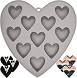 MarStore 10 Cavities Heart Shape Silicone Mold for 10 Functions Baking Chocolate, Soap, Fondant, Pudding, Jelly, Candy, Cookie, Ice Cube, Small Cake, Gelatine