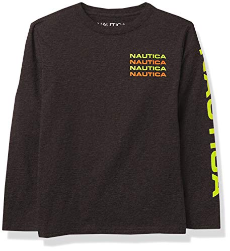 Nautica Boys' Long Sleeve Solid Crew-Neck T-Shirt, F20 Stacked Grey, L14/16