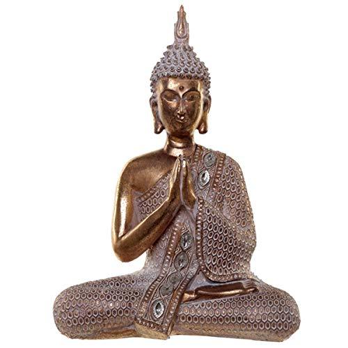 Puckator Thai Buddha-Figur, Lotus, goldfarben/Weiß, Kunstharz, Multi, Height 28cm Width 20cm Depth 8.5cm