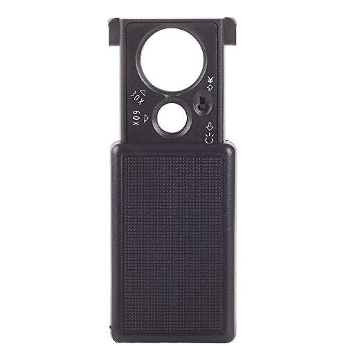 WEI-LUONG LED Mini Vidrio con iluminación, 30x 60x de Lectura de verificación de Billetes Mapa de reconocimiento, de múltiples Funciones de Cristal portátil de Doble tracción Mano