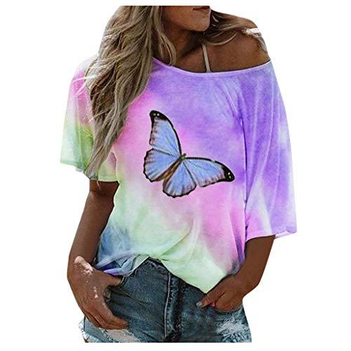 YANFANG Blusa Suelta con Estampado de Mariposa bohoTie-Dye de Talla Grande para Mujer,Túnica Casual Elegante Tops T-Shirt,, 3XL,Purple