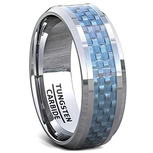 Duke Collections 8mm Tungsten Ring Polished Blue Carbon Fiber Mens Wedding Band or Fashion Ring Inlay Beveled Edge Comfort Fit (9.5)