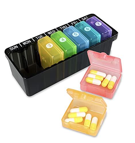 Pill Box-Weekly Pill Organizer Draagbare Opbergdoos BPA Gratis Tablet Dozen met Grote Afzonderlijke Vakjes voor Vitamine…