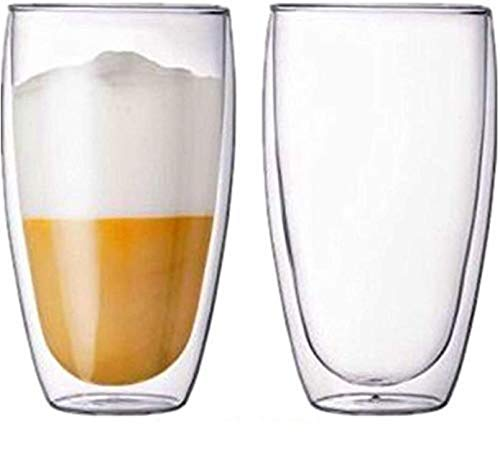 DOUBLE WALL INSULATED GLASS CUPS, set of 2, 450ML, 15 OZ. Hot & Cold drinks, By Urbino USA