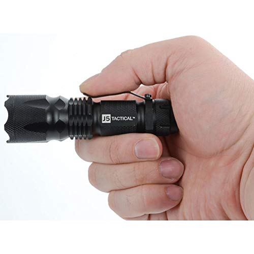 Linterna V1-Pro, con bombilla LED de hasta 300lúmenes; por J5 Tactical , V1-Pro Black, negro