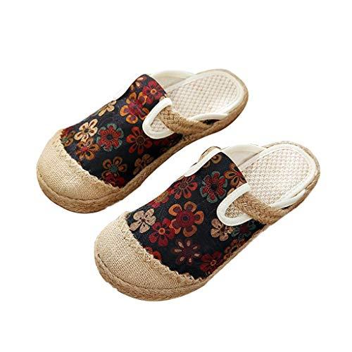 WXDP Pantuflas Calientes,para Mujer, Punta Redonda con Bordado de Estilo Chino para Mujer, mullidas Sandalias Transpirables Zapatos Planos, Zapatillas de Lino de algodón para el hogar para Camina