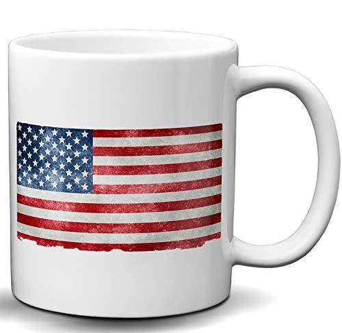 USA United States of America Stars and Stripes Flag Novelty White 11 OZ Coffee Mug Best Coffee Siblings Gift