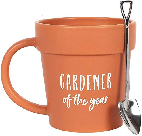 "Gardener Coffee Mug, ""Gardener of The Year"" Pot Mug and Shovel Spoon, Ideal Design Gift Set for Nature Lovers, Birthdays & Father's Day"