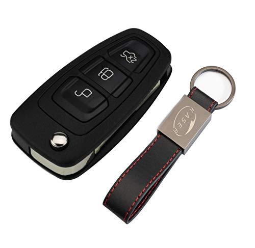 Schlüssel Gehäuse Fernbedienung für Ford 3 Tasten Autoschlüssel Funkschlüssel Focus Mondeo Fusion Fiesta Ka Kuga Ecosport S-Max C 2011-2017 mit Leder Schlüsselanhänger KASER