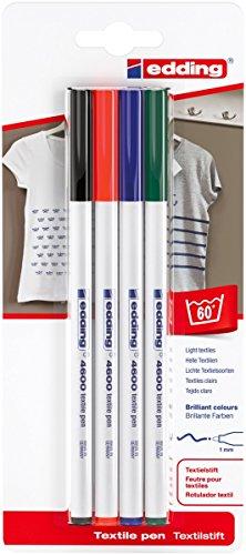 edding 4600 Textil-Stift - 4er Blister - Standard Farben - Rundspitze 1 mm - Zum Bemalen von Textilien (wie z.B. T-Shirt, Kissen, Beutel) - Textilfarbe waschmaschinenfest bis 60°C