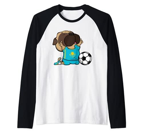 Pug Kazajstn Ftbol Fans Jersey Kazajstn Amante del Ftbol Camiseta Manga Raglan