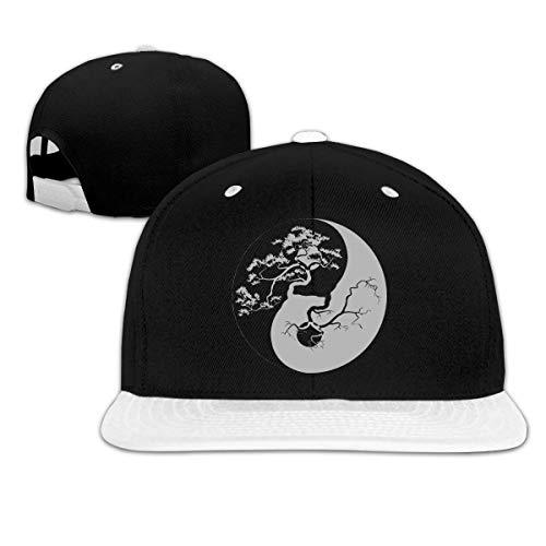 cvbnch Gorras de béisbol Hombre/Mujer,Bonsai Tree On The Yin Yang Symbol-3 Unisex Hip Hop Flat Brim Snapback Hats Women Men Contrast Color Baseball Cap Hats Golf Cap