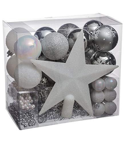 Lot déco Noël - Kit 44 pièces pour décoration sapin : Guirlandes, Boules et Cimier - Thème couleur : Blanc et Argent