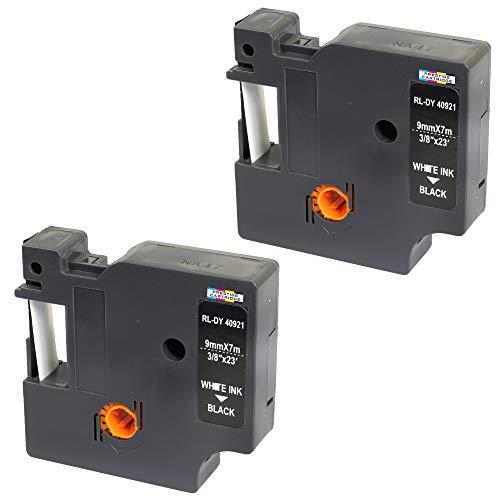 2 Kassetten D1 40921 weiß auf schwarz 9mm x 7m Schriftband kompatibel für DYMO LabelManager LM 100 150 160 200 210D 260 280 300 350 350D 360D 400 420P 450 500TS PC PC2 PnP LabelWriter LW 400 450 Duo