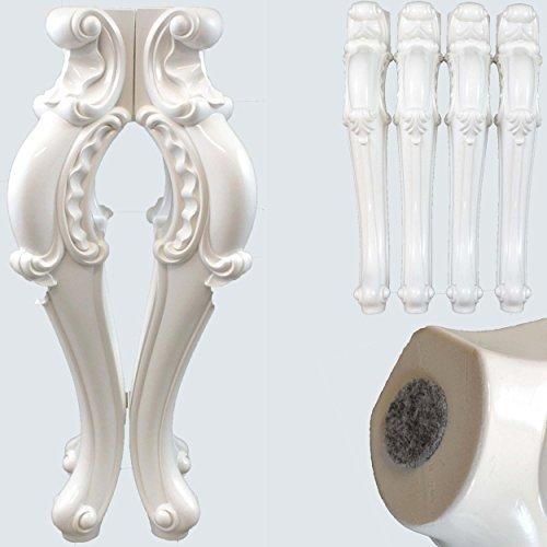 Tischbeine 4x Hochglanz Weiß 72 cm Möbelbein Tischfuß Lack Esstisch Tischbein