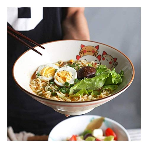 Ramen Bowl Japanese Style Large Bowl Set Large Soup Ramen Noodle Bowl Fruit Salad Pasta Mixing Serving Bowl Creative Ceramic Hand Painted Cats Tableware Microwave Safe (Size : 8 inches)