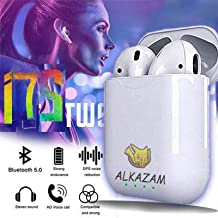 Alakazam I7s TWS Earphone With Portable 300 Mah Charging Case True Wireless Earbuds With Sensor Waterproof Bluetooth V5 0 Noise Cancellation Headset For Sports Gyming Calling White