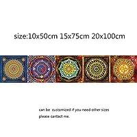 マンダラスタイルのモザイクタイルステッカー3 d防水壁画デカールバスルーム装飾DIYの粘着剤のためのリビングルームキッチンレトロな壁PVC (Color : 3, Size : 10x50cm)