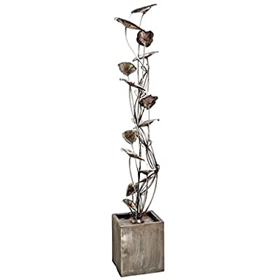 Water Fountain - 7 Foot Tall Wandering Leaf Garden Decor Metal Tower Fountain - Outdoor Water Feature