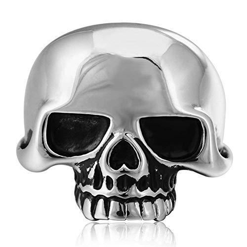 JIANLISP - Anillo de acero inoxidable gótico vintage para hombre, diseño de calavera de Halloween
