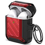 Maxjoy Airpods Case Cover with Keychain TPU Dustproof Shockproof Armor Case for Apple Airpods 2 Airpod Case Full-Body Rugged Protective Case Wireless Charging Case (Red)