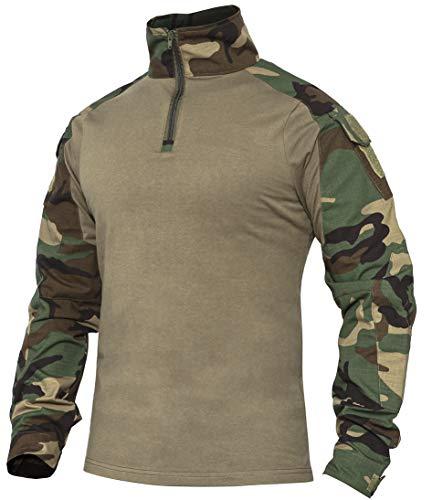 Wespornow Herren Taktisches Hemd Outdoor Combat Shirt Kampfshirt für Militär und Airsoft (Woodland, L)