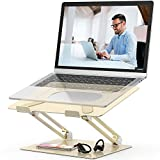 Laptop Stand,Youbester Adjustable Multi-Angle Stand with Heat-Vent to Elevate Laptop, Aluminum Ergonomic Portable Computer Notebook Stand Compatible for MacBook,Dell,HP More 10-17' Laptops (Gold)