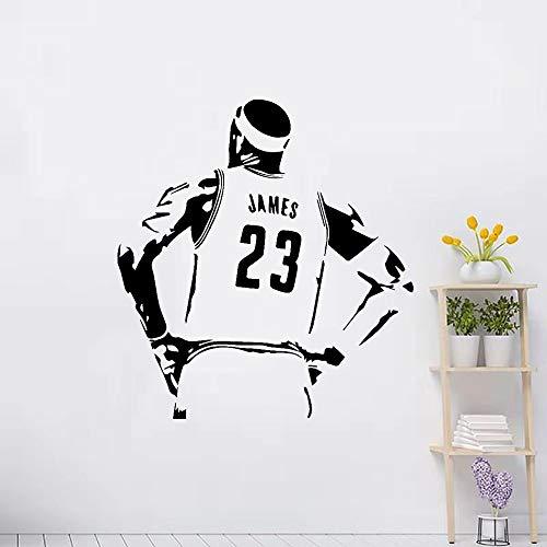 NBA Basketball Sports Star Player Lakers LeBron James LBJ King # 23 Etiqueta de la pared Vinilo Calcomanía para automóviles Boy Fans Dormitorio Sala de estar Club Decoración para el hogar Mural