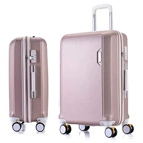 Mdsfe ABS + PC luggage set travel suitcase on wheels Trolley luggage carry on cabin suitcase Women bag Rolling luggage spinner wheel - Rose gold, 22'