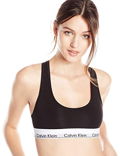Calvin Klein Women's Regular Modern Cotton Bralette, Black, Medium