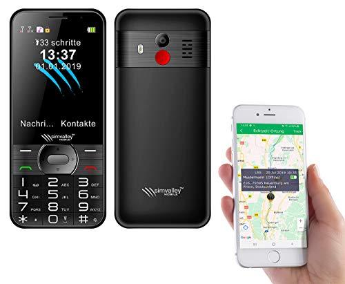 simvalley MOBILE Seniorentelefon: Komforthandy mit Garantruf Premium, XL-Farbdisplay, GPS-Tracking und App (Handy mit GPS)