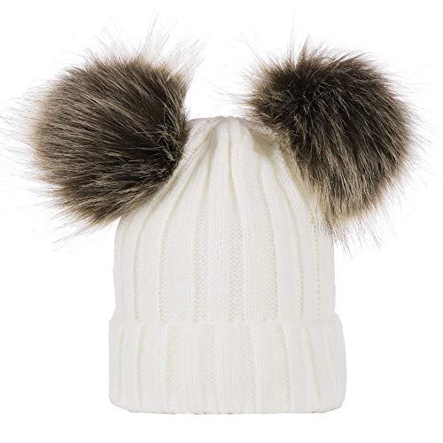 Sombrero de Invierno Bufanda para Niños Gorro de Punto para Bebés y Niños con Pompón Gorro de Punto Cálido de Invierno para Bebé, Gorro de Gorro de Ganchillo para Niñas y Niños (White/Hat,One Size)