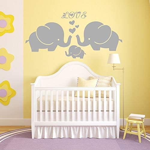 Large Cute Elephant Family with Hearts Wall Decals Baby Nursery Decor Kids Room Wall Stickers product image