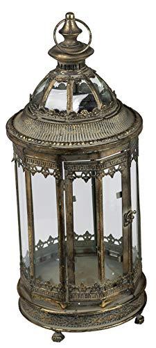 Dekojohnson Lanterna decorativa in metallo con tetto in vetro, lanterna in acciaio vintage antico,...