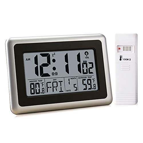 UMEXUS Atomic Digital Clock with Indoor Outdoor Temperature, 9 inch Wall Clock & Desk Alarm Clock Large Display Calendar Date Battery Operated for Kitchen Bedroom Office