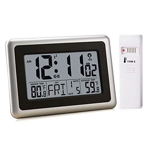 UMEXUS Atomic Digital Clock, Wall Clock & Desk Alarm Clock Large Display with Indoor Outdoor Temperature Calendar Date Large Clock Battery Operated for Kitchen Bedroom Office